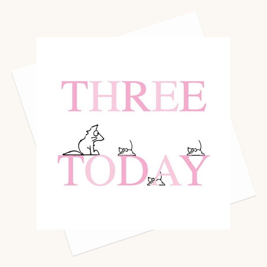 girl aged three birthday card animal characters