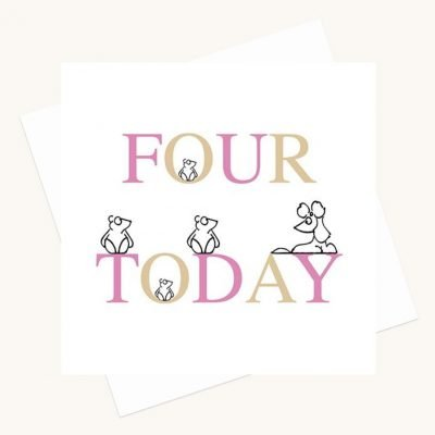 girl aged four birthday card animal characters