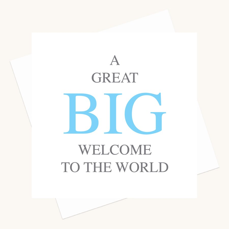 welcome to the world new baby boy bold lettering