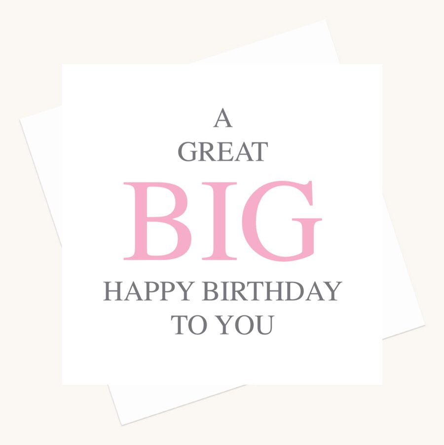 happy birthday greeting card bold lettering pink