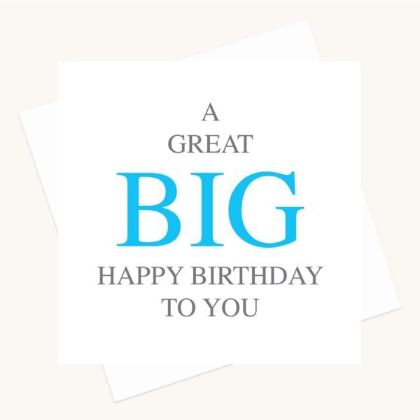 happy birthday greeting card bold lettering blue