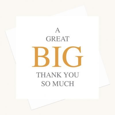 thank you so much greeting card bold lettering