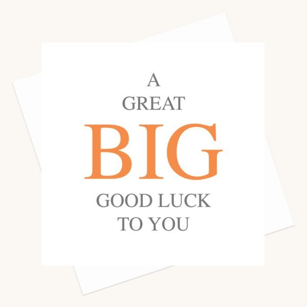 good luck greeting card bold lettering