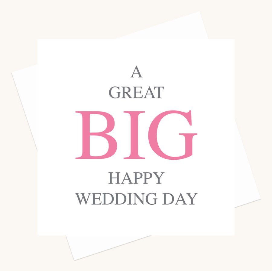 happy wedding day greeting card bold lettering