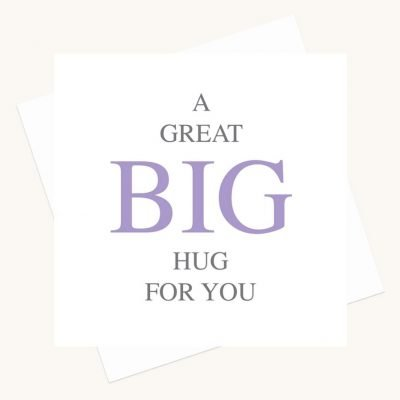 hug for you greeting card bold lettering