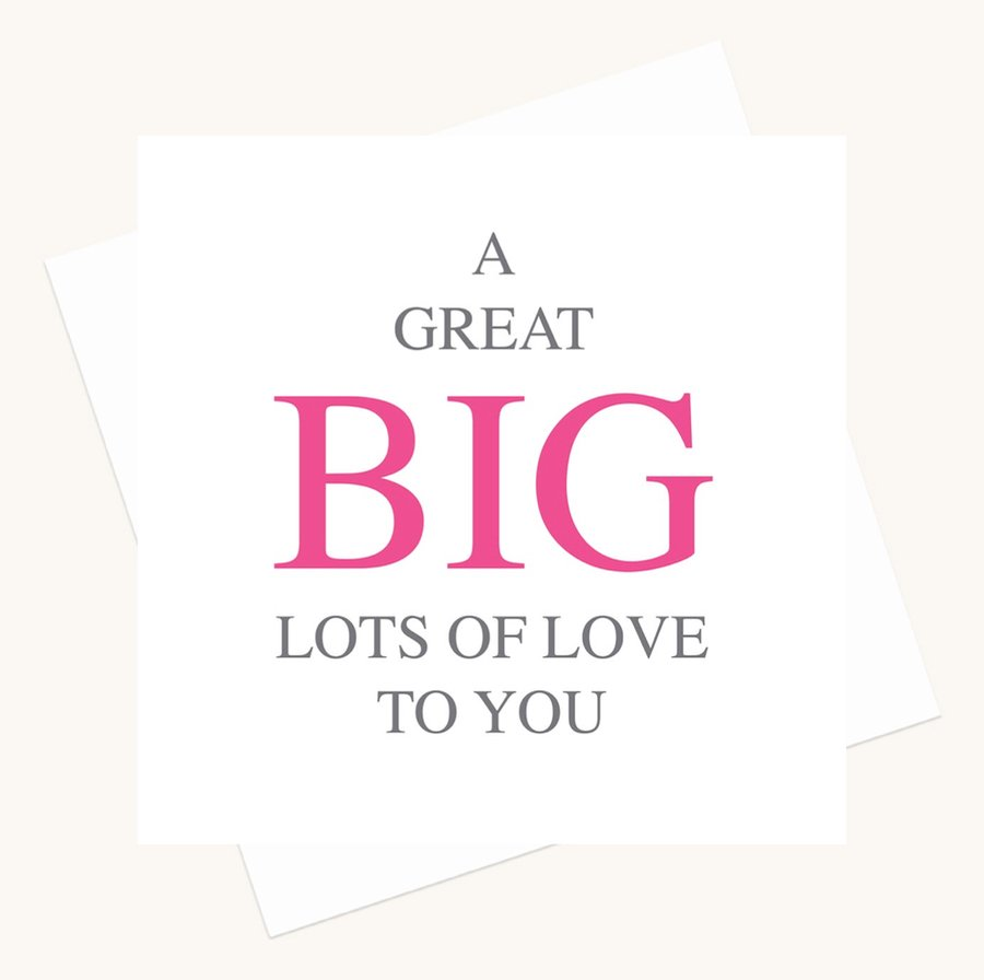 lots of love greeting card bold lettering