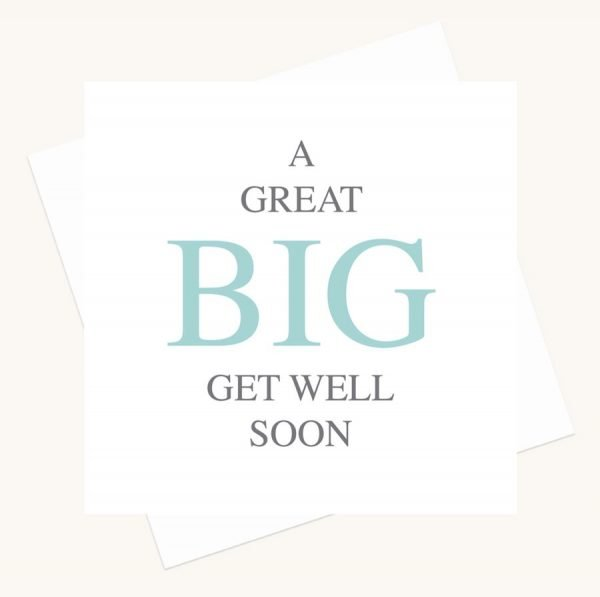 get well soon greeting card bold lettering