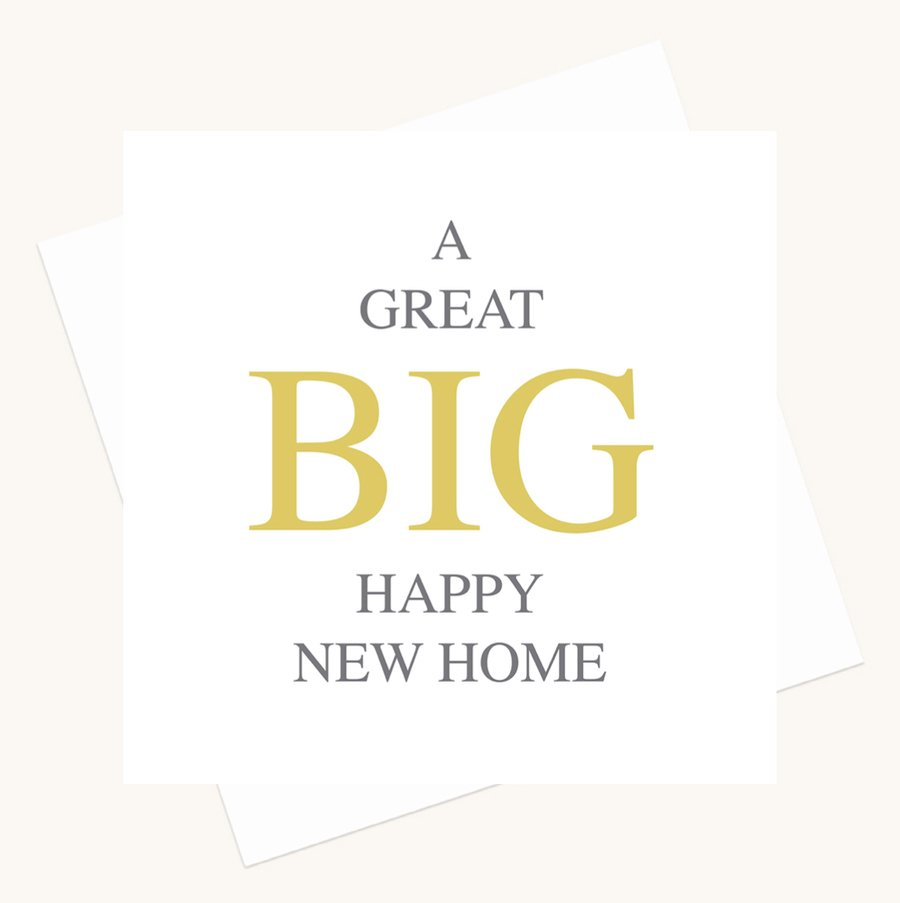happy new home greeting card bold lettering