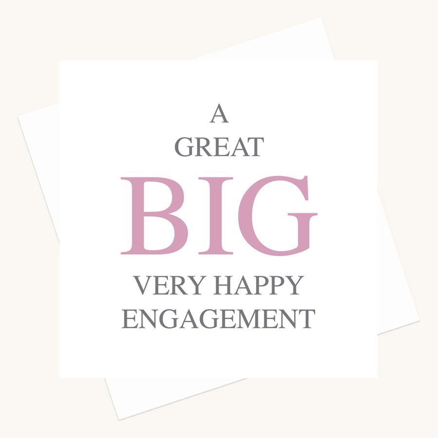 very happy engagement greeting card bold lettering
