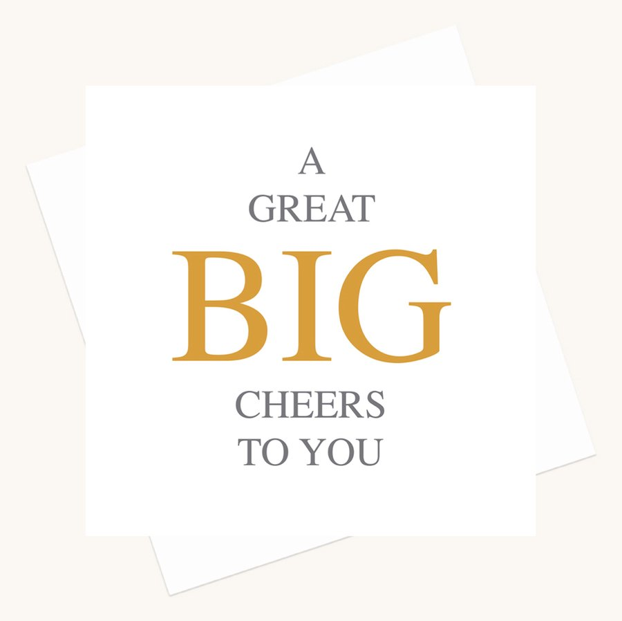 cheers to you greeting card bold lettering