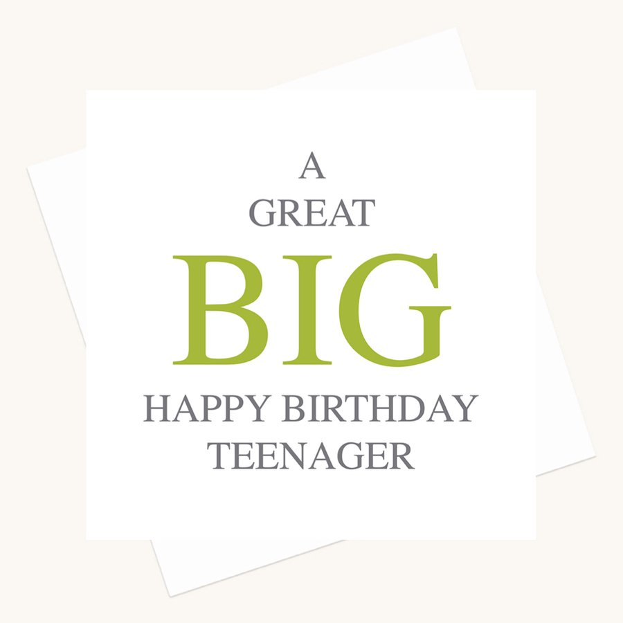 happy birthday teenager greeting card bold lettering