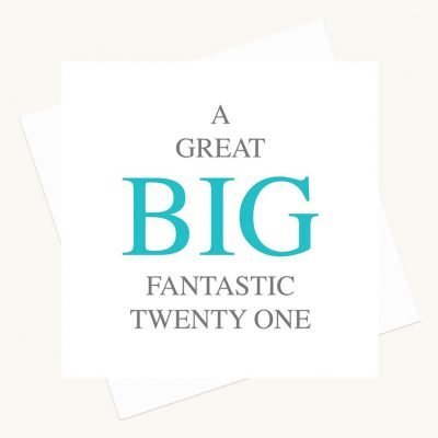 twenty first birthday greeting card bold lettering