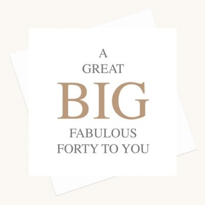 fabulous fortieth birthday greeting card bold lettering