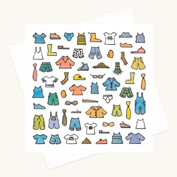 clothes and accessories for a boy greeting card