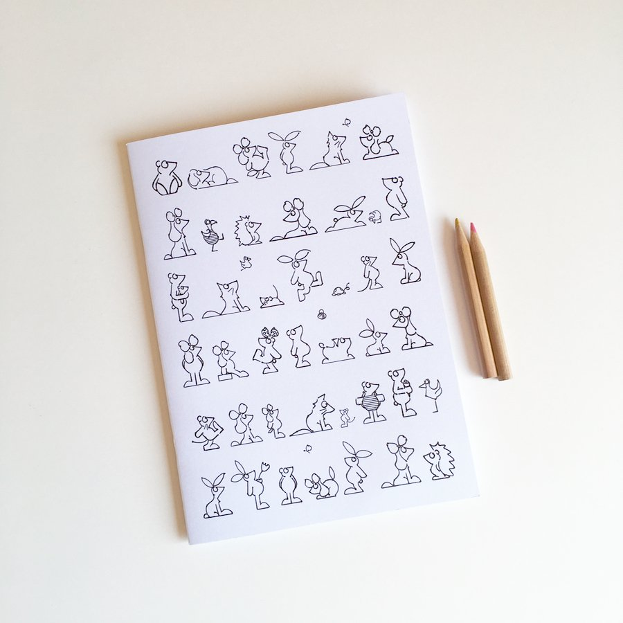 A5 notebook cover to colour in animal character illustrations