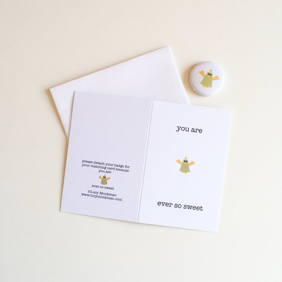 friendship mini greeting card with badge bird character