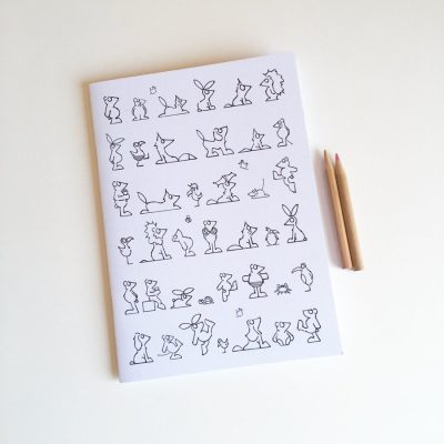 A5 notebook cover to colour animal character illustrations