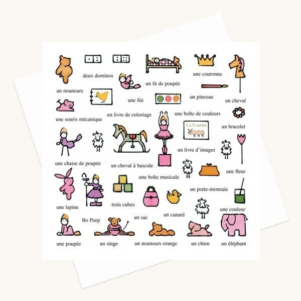 toys for a girl greeting card words in French
