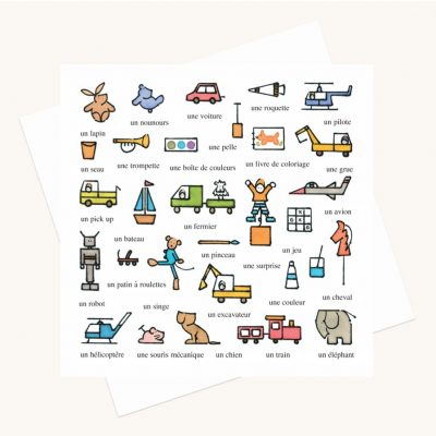 toys for boys greeting card words in French