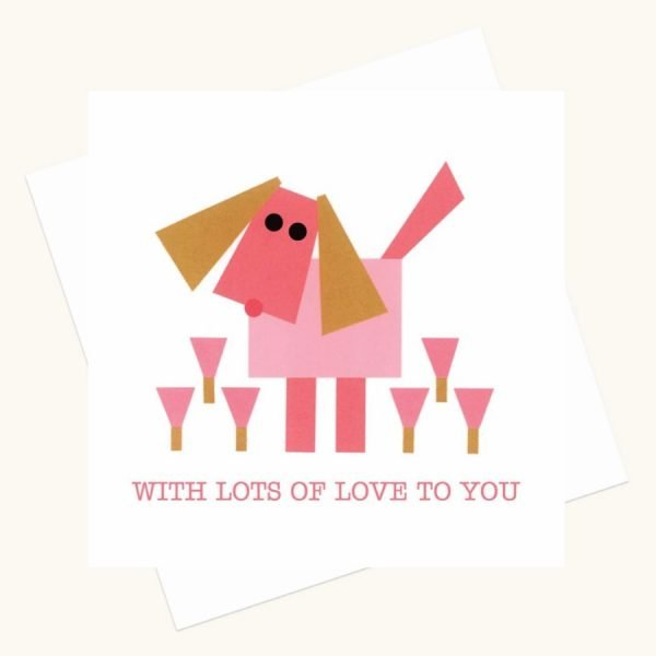 with lots of love greeting card pink dog pink flowers