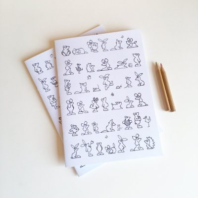 A5 notebooks girl and bot covers to colour animal character illustrations