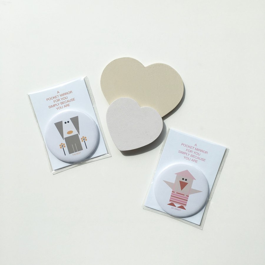pair of pocket mirror so sweet bird the best dog with cards