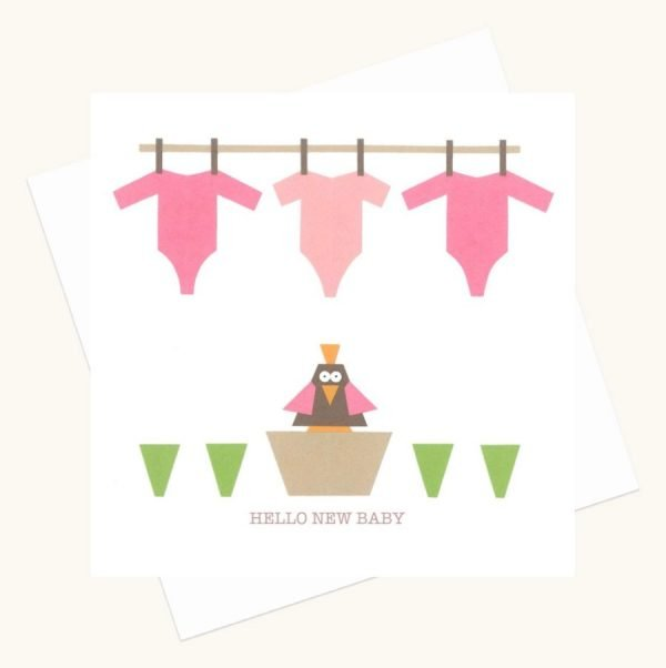 hello new baby girl greeting card pink baby grows bird