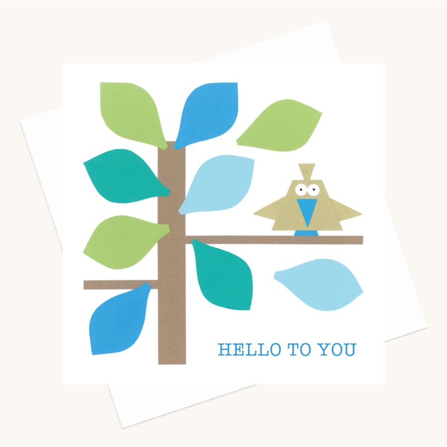 hello to you greeting card bird in tree any occasion