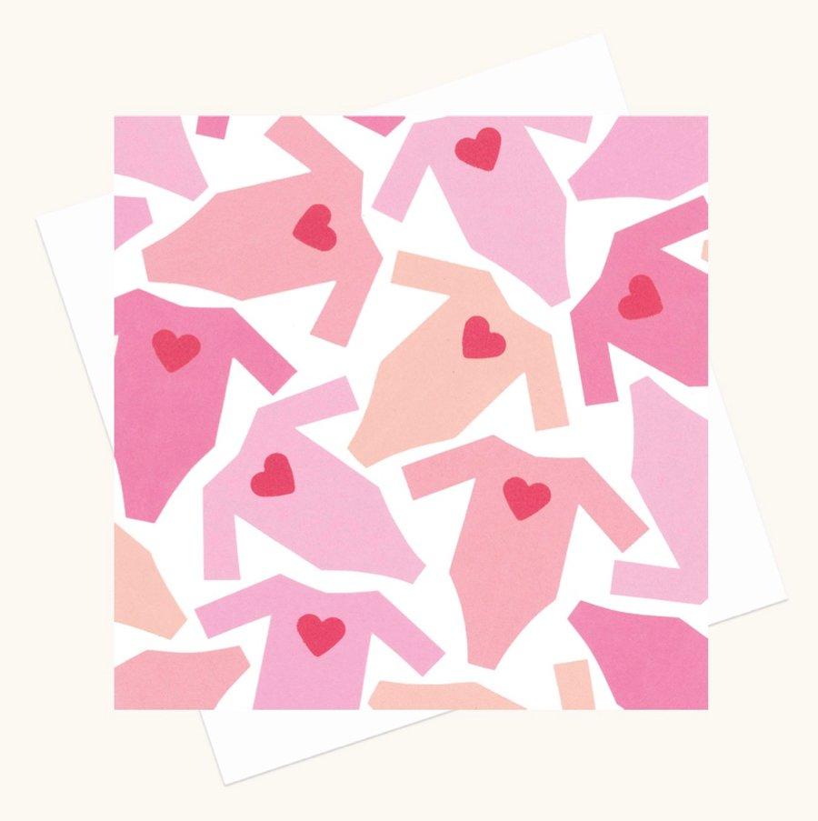 new baby girl greeting card baby grows hearts pink