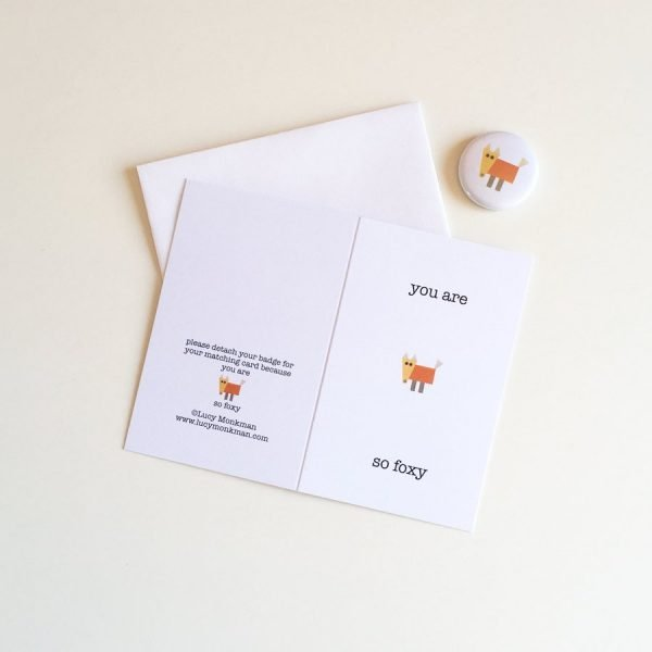friendship mini greeting card with badge fox character