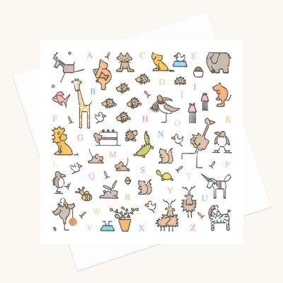 animal alphabet greeting card animal illustrations colourful
