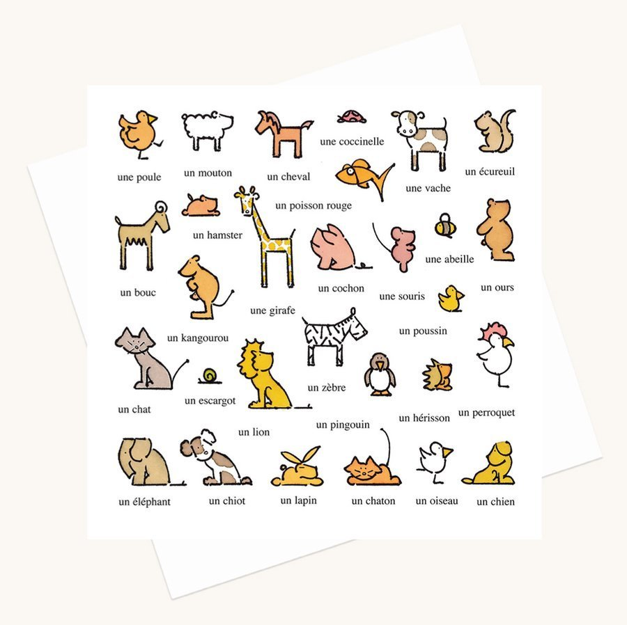 animal illustrations greeting card words in French