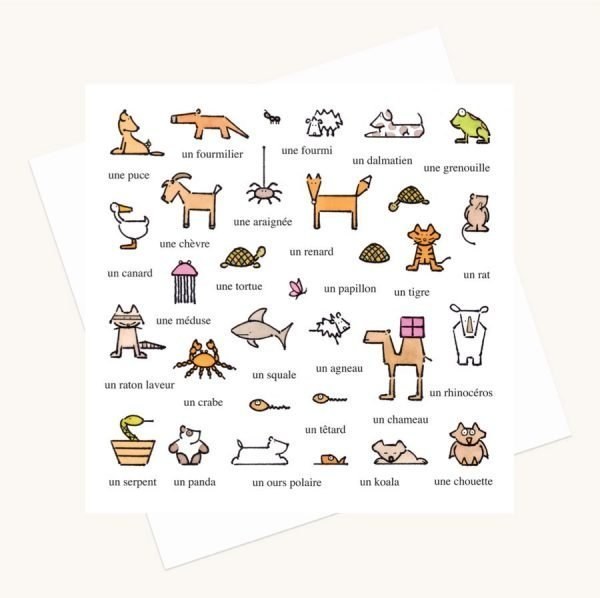 animal illustrations greeting card words in French any occasion