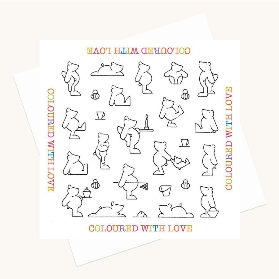 bear illustrations colouring greeting card
