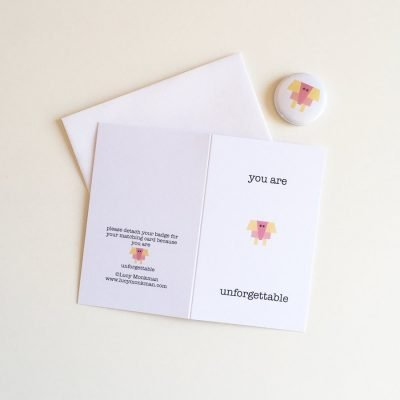 friendship mini greeting card with badge elephant character