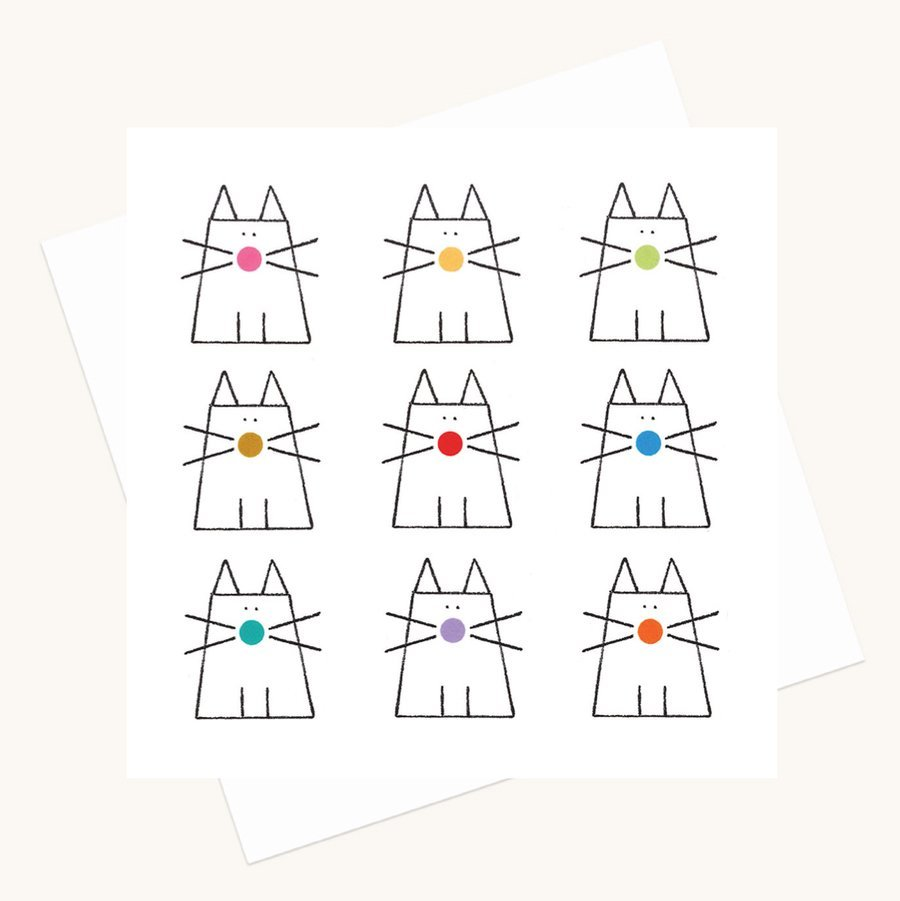 fun cats and dots greeting card any occasion