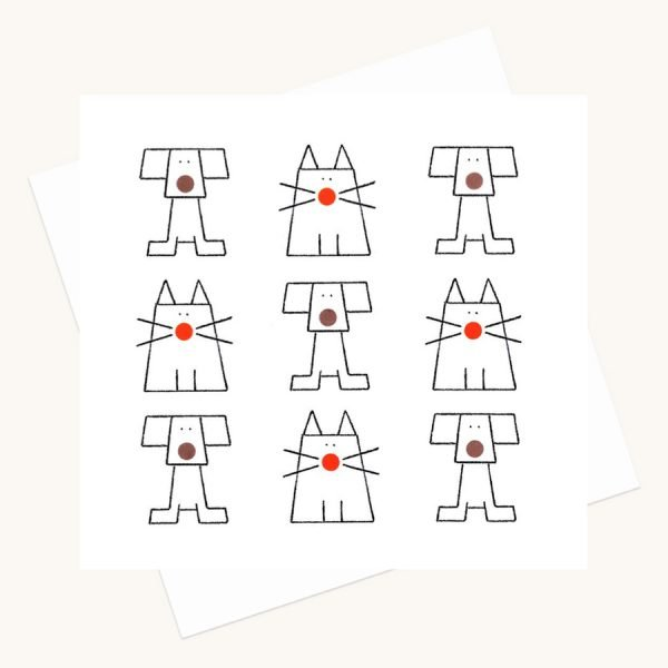 cats dogs dots greeting card any occasion