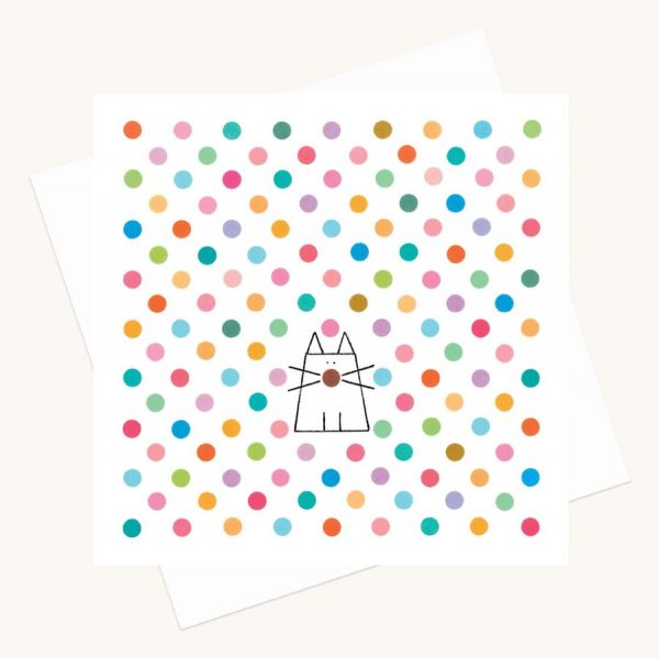 colourful cat and dots greeting card any occasion