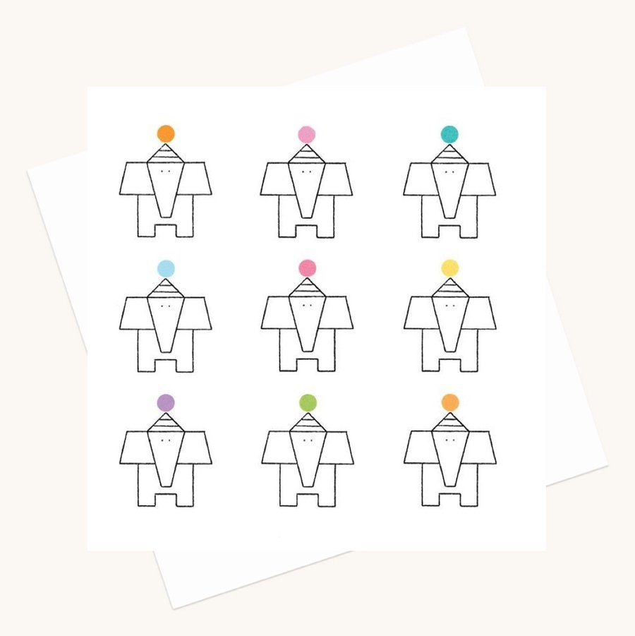 elephants and dots colourful greeting card any occasion