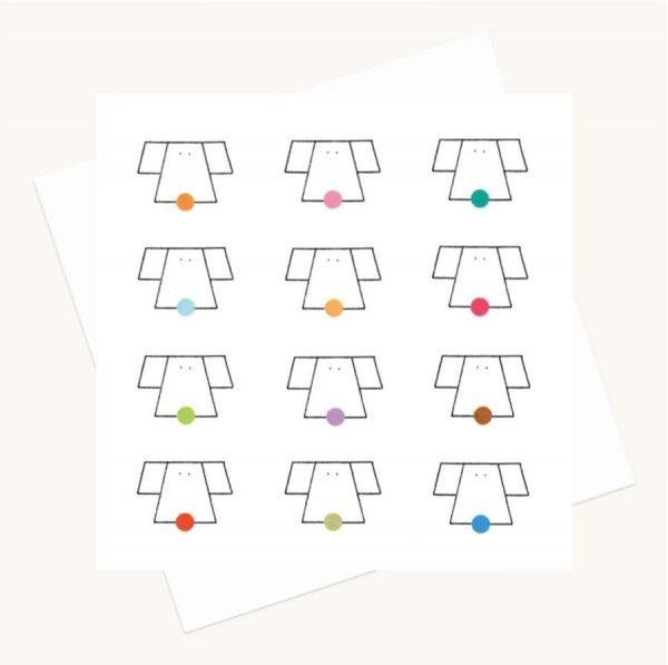 dogs faces and dots colourful greeting card any occasion