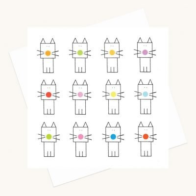 cats and dots fun greeting card any occasion colourful