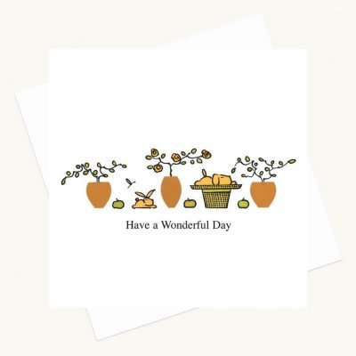 wonderful day greeting card dog rabbit plant pots