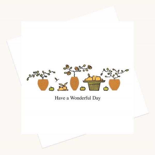 wonderful day greeting card dog rabbit plant pots