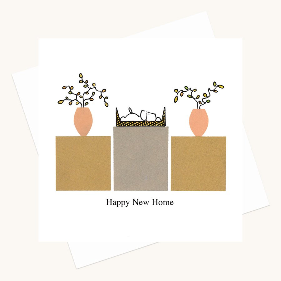 happy new home greeting card dog in basket boxes plants