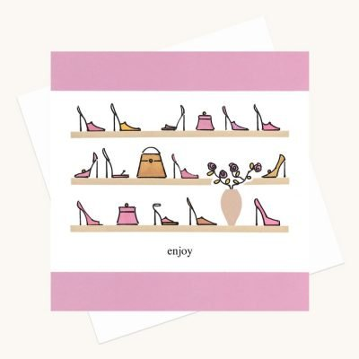 shoe handbags illustrations greeting card