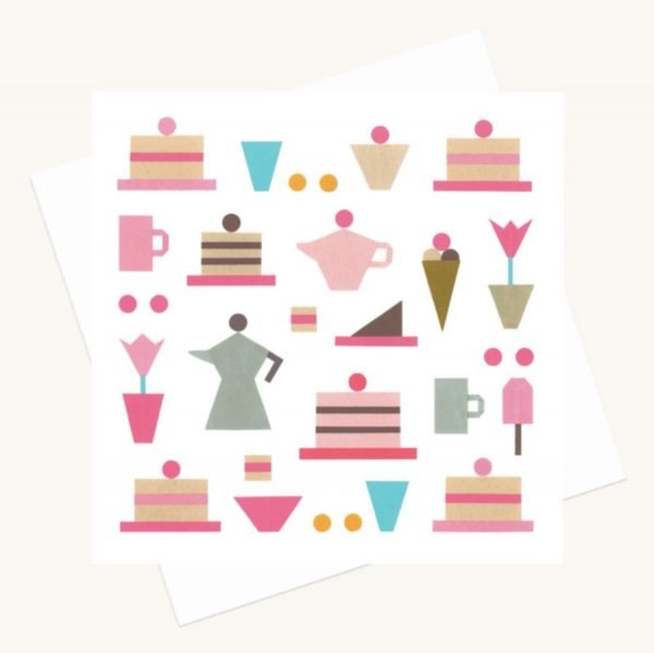 tea coffee cakes greeting card any occasion