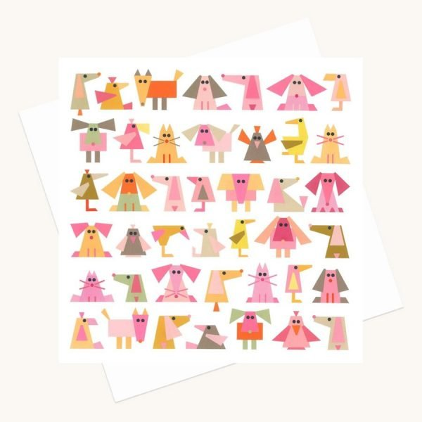 fun animal characters greeting card quirky pinks