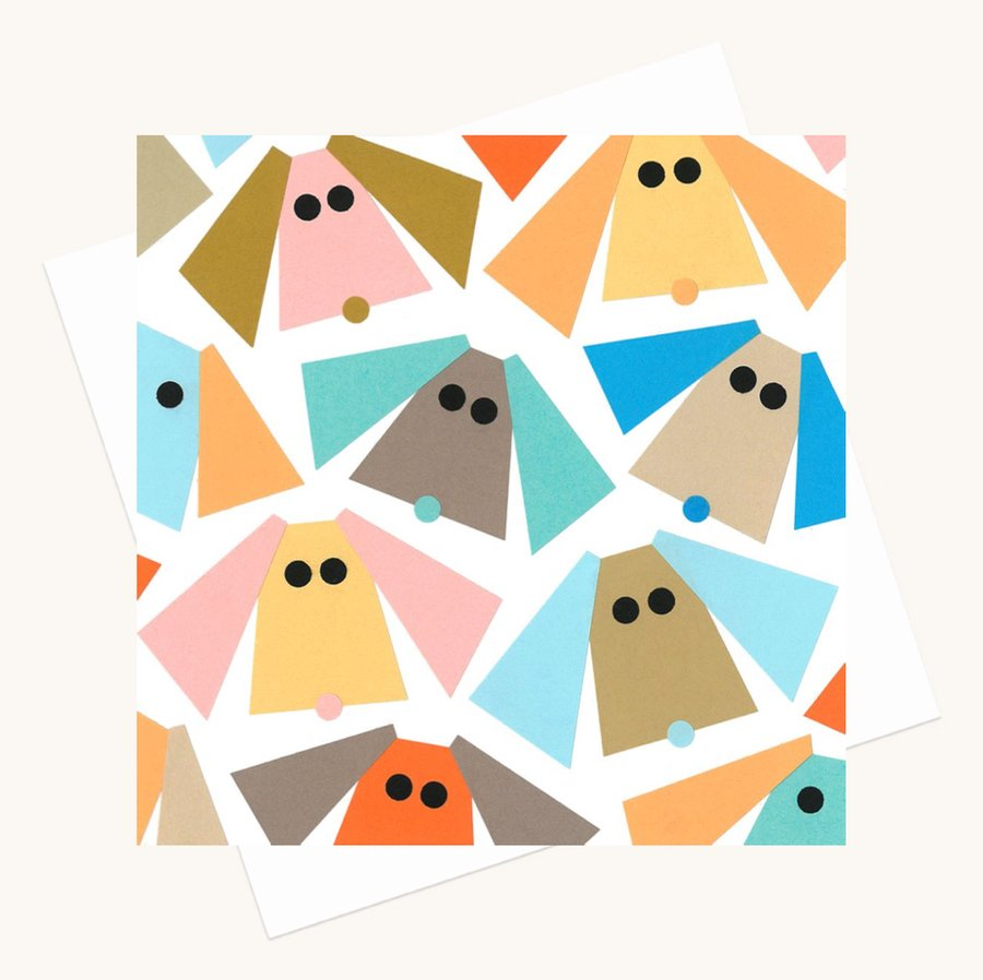 dogs faces colourful greeting card any occasion