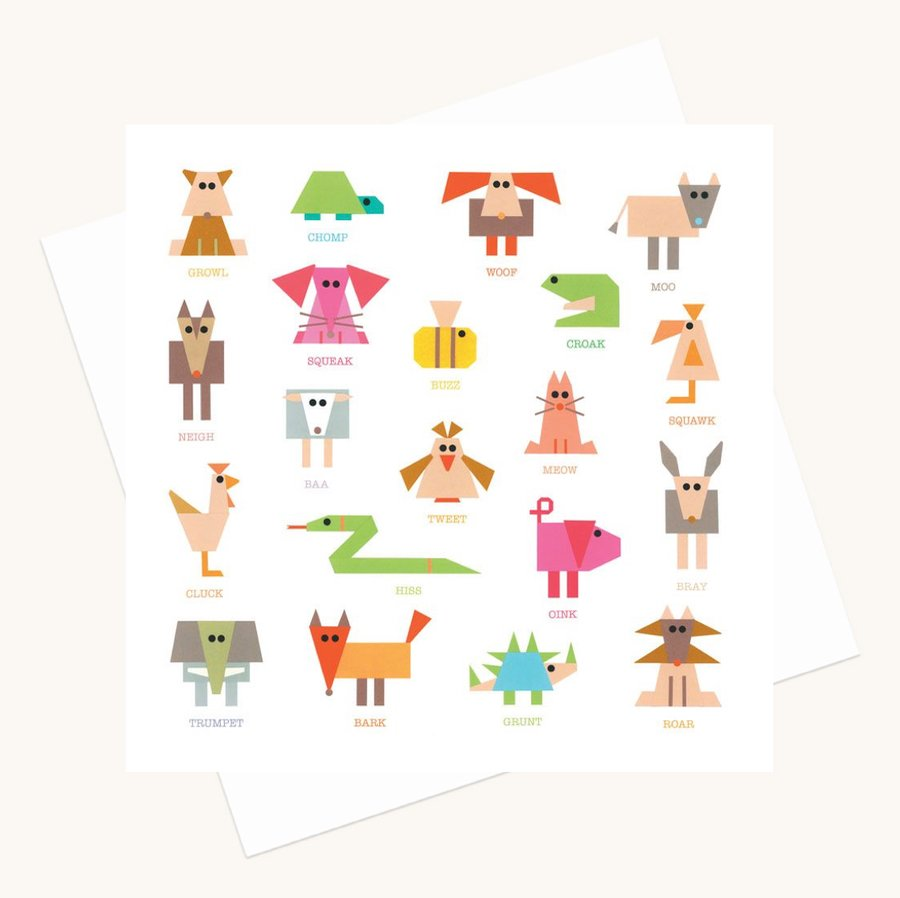 animal noises greeting card fun colourful any occasion