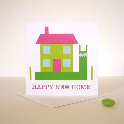 happy new home hand finished greeting card snail googly eyes